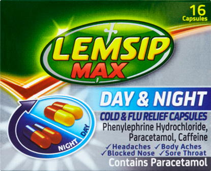 Picture of LEMSIP MAX COLD & FLU DAY & NIGHT 16 CAPSULES