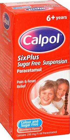 Picture of CALPOL SIX PLUS  STRAWBERRY SUGARFREE 100ML